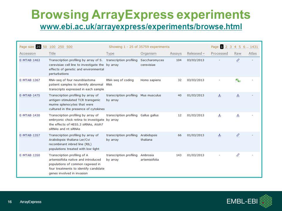 Browsing ArrayExpress experiments www.ebi.ac.uk/arrayexpress/experiments/browse.html www.ebi.ac.uk/arrayexpress/experiments/browse.html ArrayExpress16