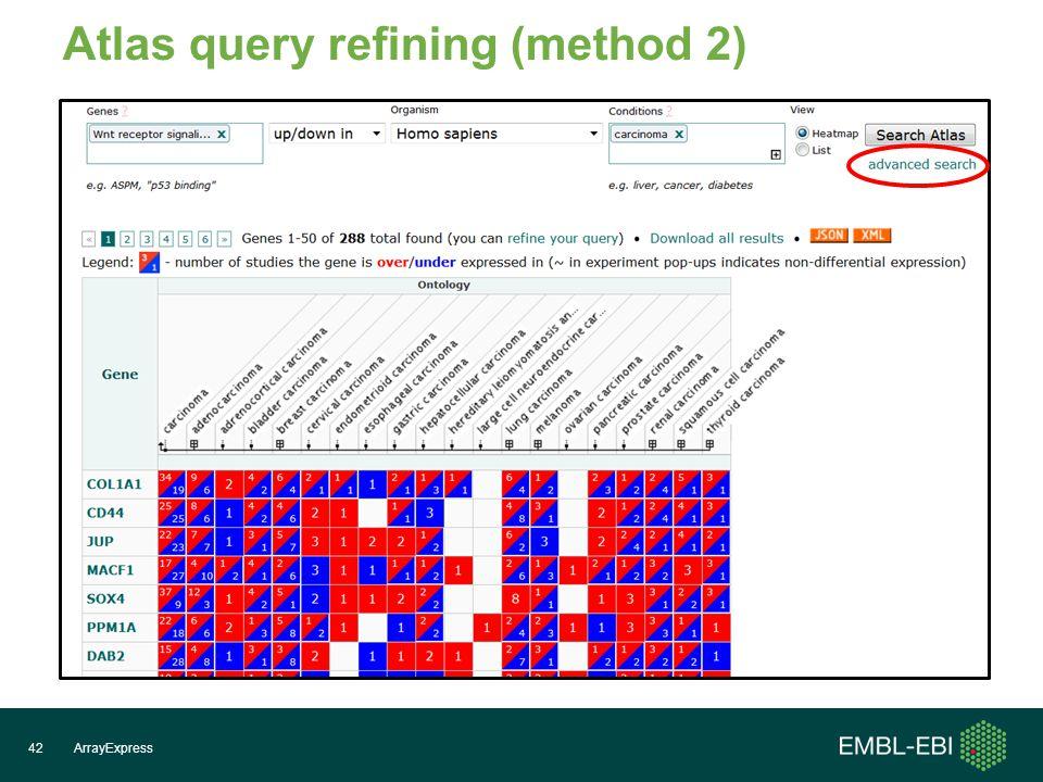 ArrayExpress42 Atlas query refining (method 2)
