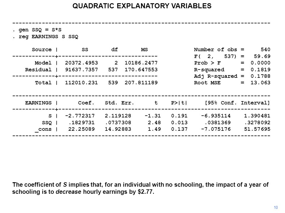 10 QUADRATIC EXPLANATORY VARIABLES The coefficient of S implies that, for an individual with no schooling, the impact of a year of schooling is to dec