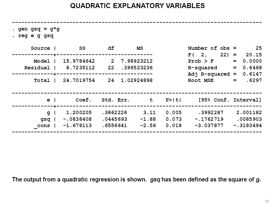 17 QUADRATIC EXPLANATORY VARIABLES The output from a quadratic regression is shown. gsq has been defined as the square of g. -------------------------