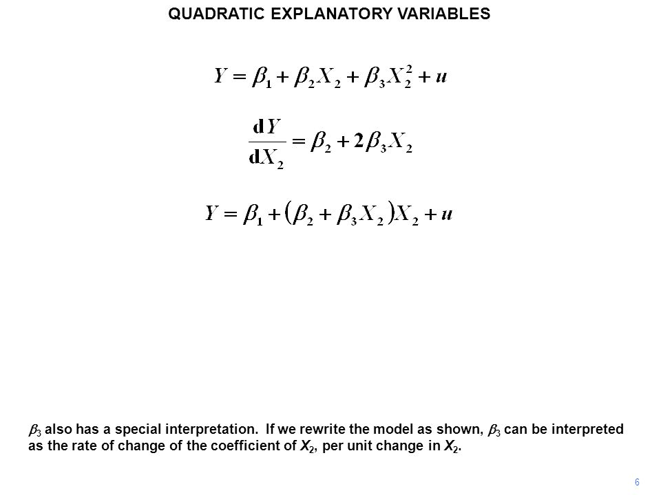 17 QUADRATIC EXPLANATORY VARIABLES The output from a quadratic regression is shown.