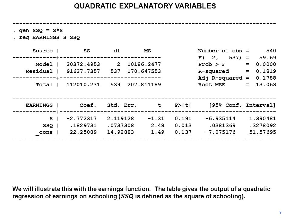 20 QUADRATIC EXPLANATORY VARIABLES Diminishing marginal effects are standard in economic theory, justifying quadratic specifications, at least as an approximation, but economic theory seldom suggests that a relationship might sensibly be represented by a cubic or higher-order polynomial.