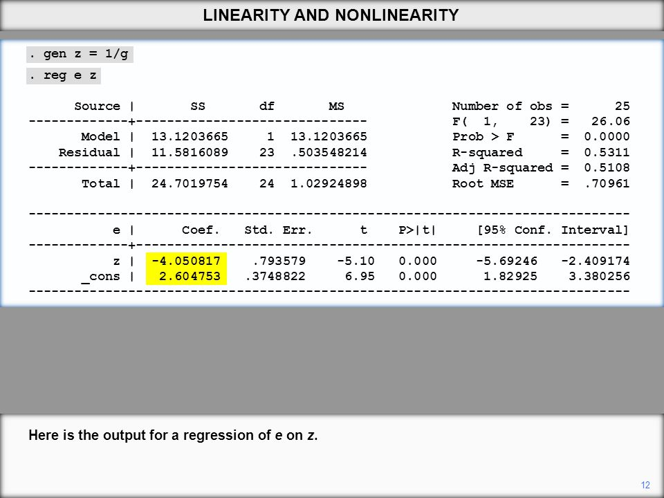 Here is the output for a regression of e on z. 12 LINEARITY AND NONLINEARITY.
