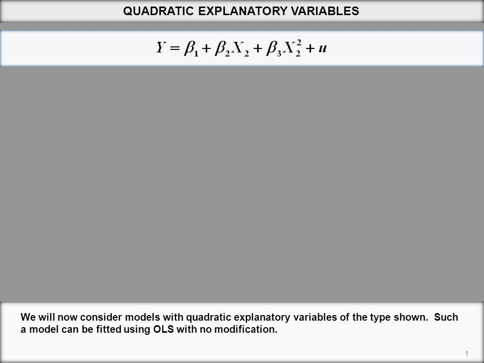 1 QUADRATIC EXPLANATORY VARIABLES We will now consider models with quadratic explanatory variables of the type shown.
