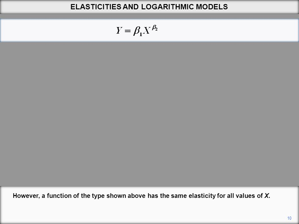 10 However, a function of the type shown above has the same elasticity for all values of X. ELASTICITIES AND LOGARITHMIC MODELS