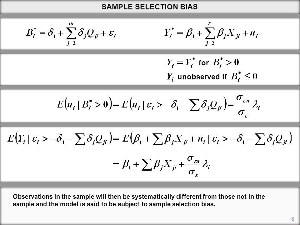 Observations in the sample will then be systematically different from those not in the sample and the model is said to be subject to sample selection