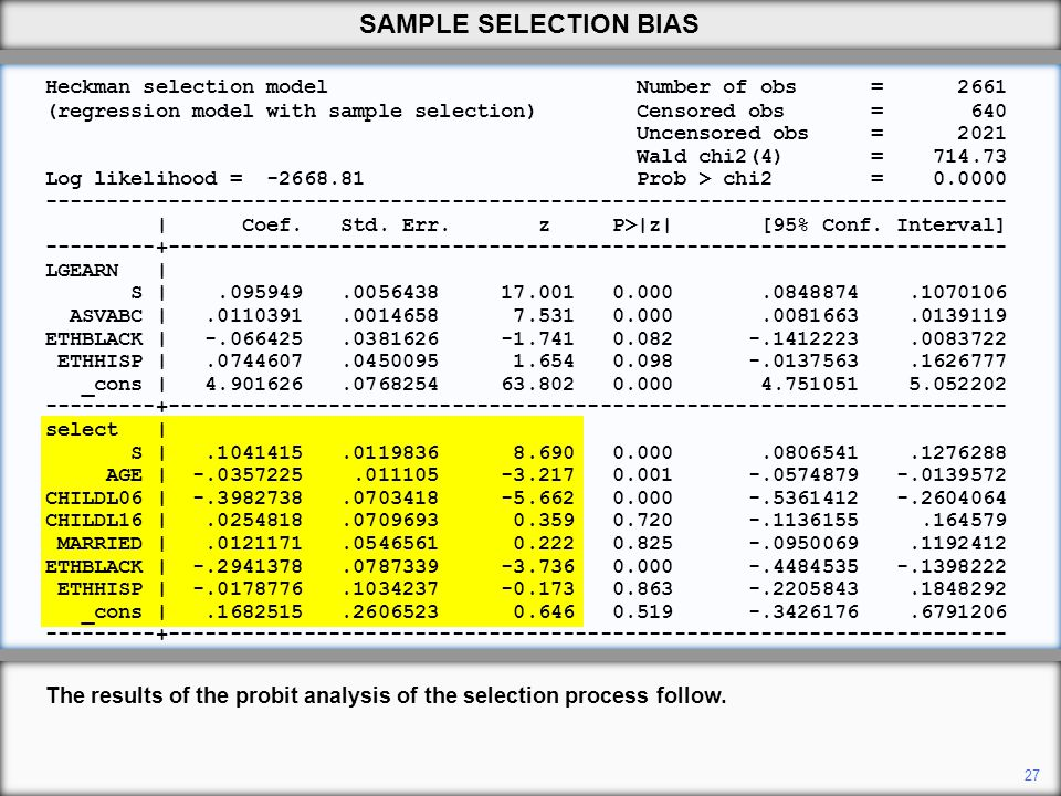 Heckman selection model Number of obs = 2661 (regression model with sample selection) Censored obs = 640 Uncensored obs = 2021 Wald chi2(4) = 714.73 L