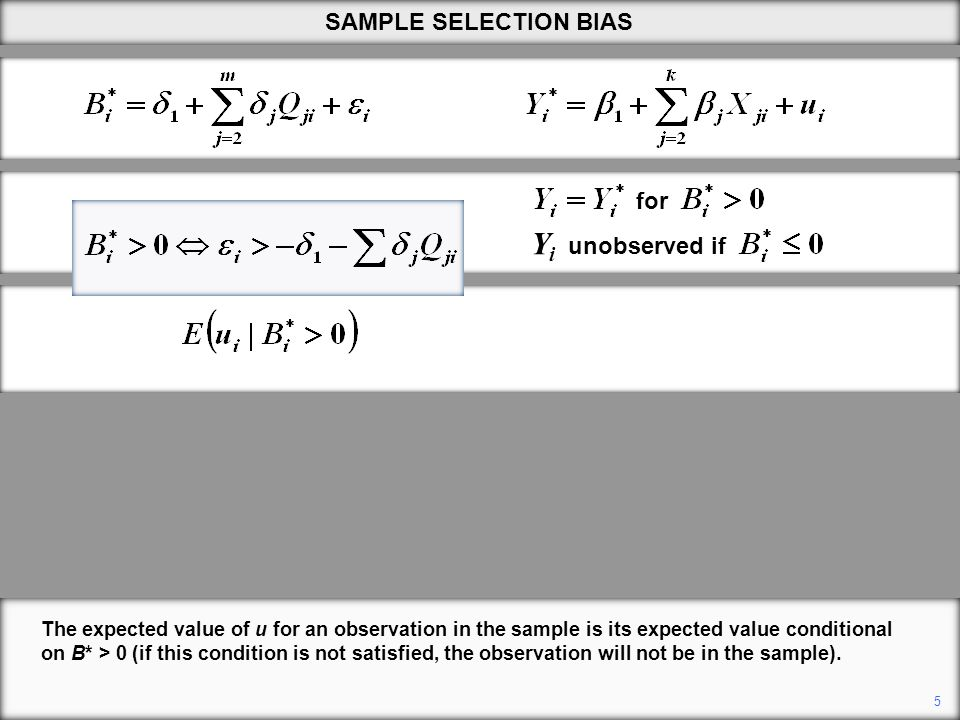 The expected value of u for an observation in the sample is its expected value conditional on B* > 0 (if this condition is not satisfied, the observat