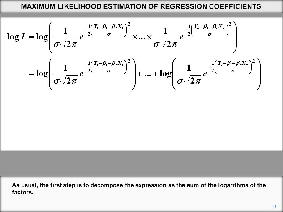 13 As usual, the first step is to decompose the expression as the sum of the logarithms of the factors.