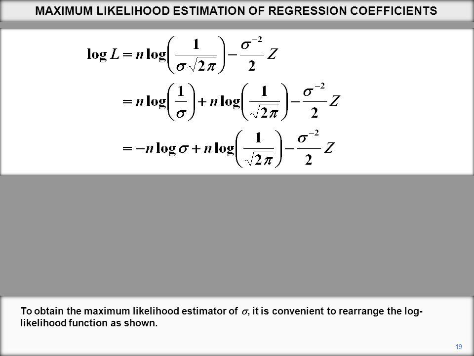19 To obtain the maximum likelihood estimator of , it is convenient to rearrange the log- likelihood function as shown.