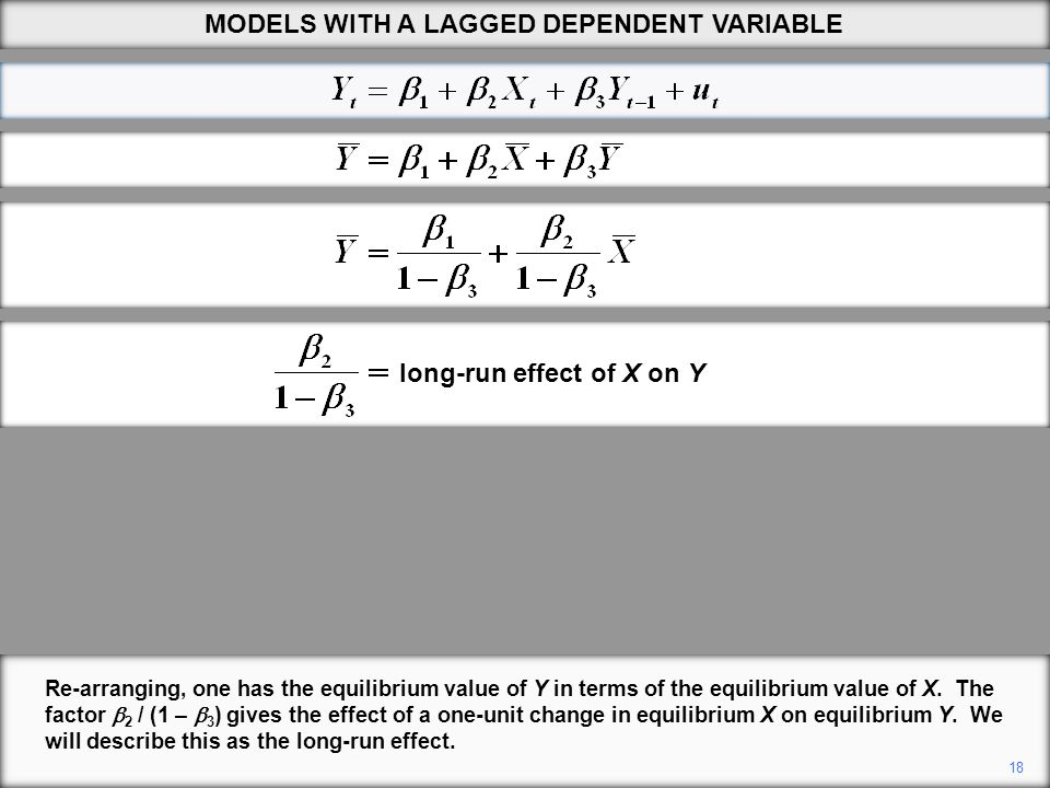 18 Re-arranging, one has the equilibrium value of Y in terms of the equilibrium value of X. The factor  2 / (1 –  3 ) gives the effect of a one-unit