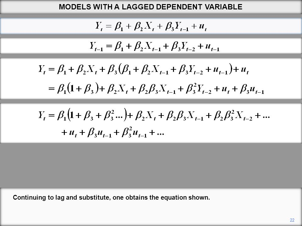 22 Continuing to lag and substitute, one obtains the equation shown. MODELS WITH A LAGGED DEPENDENT VARIABLE