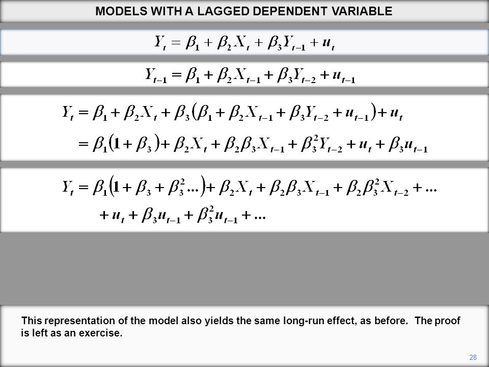28 This representation of the model also yields the same long-run effect, as before. The proof is left as an exercise. MODELS WITH A LAGGED DEPENDENT