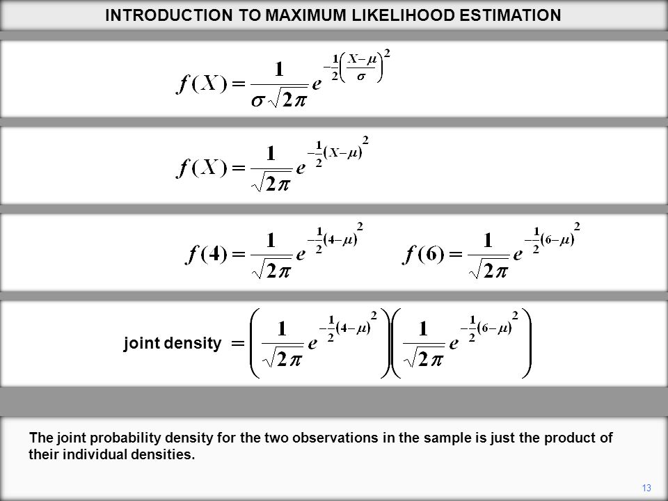 13 The joint probability density for the two observations in the sample is just the product of their individual densities.