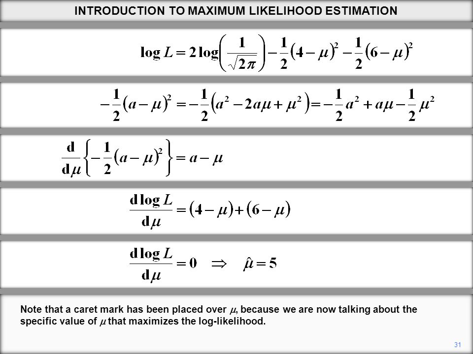31 Note that a caret mark has been placed over , because we are now talking about the specific value of  that maximizes the log-likelihood.