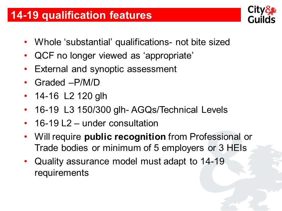 14-19 qualification features Whole 'substantial' qualifications- not bite sized QCF no longer viewed as 'appropriate' External and synoptic assessment Graded –P/M/D 14-16 L2 120 glh 16-19 L3 150/300 glh- AGQs/Technical Levels 16-19 L2 – under consultation Will require public recognition from Professional or Trade bodies or minimum of 5 employers or 3 HEIs Quality assurance model must adapt to 14-19 requirements