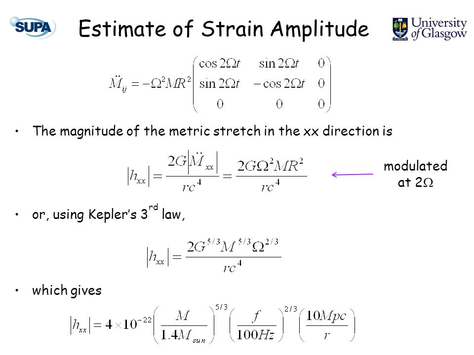 Estimate of Strain Amplitude The magnitude of the metric stretch in the xx direction is or, using Kepler's 3 rd law, which gives modulated at 2 