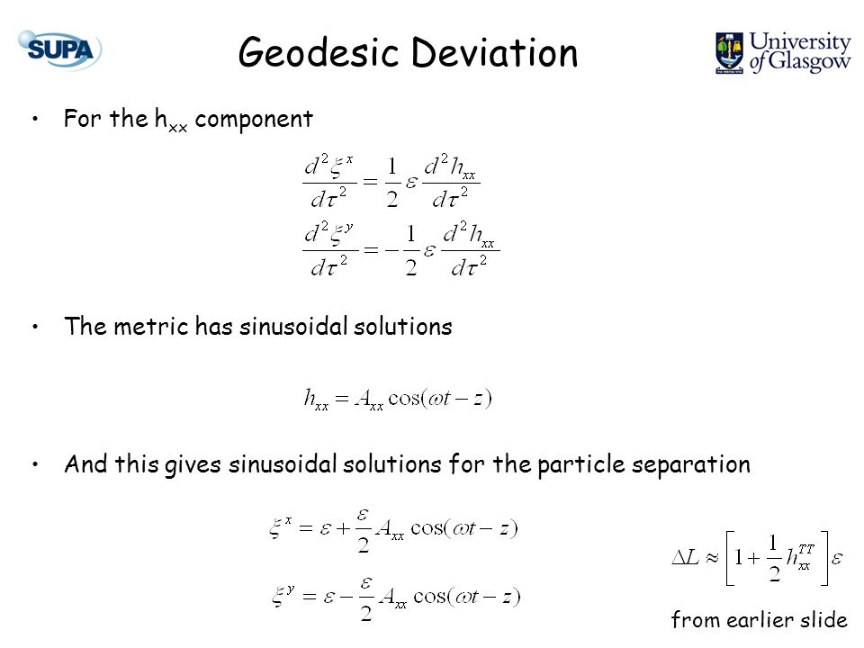Geodesic Deviation For the h xx component The metric has sinusoidal solutions And this gives sinusoidal solutions for the particle separation from earlier slide