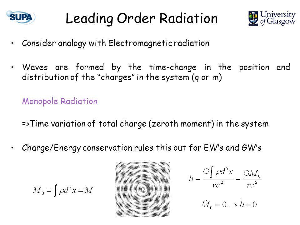 Leading Order Radiation Consider analogy with Electromagnetic radiation Waves are formed by the time-change in the position and distribution of the charges in the system (q or m) Monopole Radiation =>Time variation of total charge (zeroth moment) in the system Charge/Energy conservation rules this out for EW's and GW's