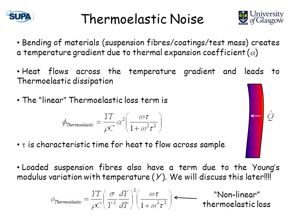 Thermoelastic Noise Bending of materials (suspension fibres/coatings/test mass) creates a temperature gradient due to thermal expansion coefficient (  ) Heat flows across the temperature gradient and leads to Thermoelastic dissipation The linear Thermoelastic loss term is  is characteristic time for heat to flow across sample Loaded suspension fibres also have a term due to the Young's modulus variation with temperature (Y ).