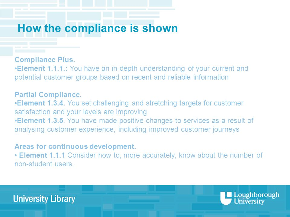 How the compliance is shown Compliance Plus.