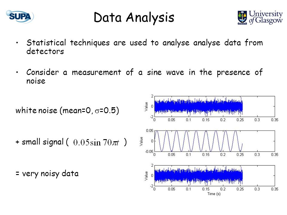 How can we recover the signal (if at all?) Assume our 35Hz sine wave is sampled at 35kHz (16kHz in most detectors) => 1 cycle contains 1000 samples Averaging approximately 150 samples (7 points per cycle) gives Data Analysis