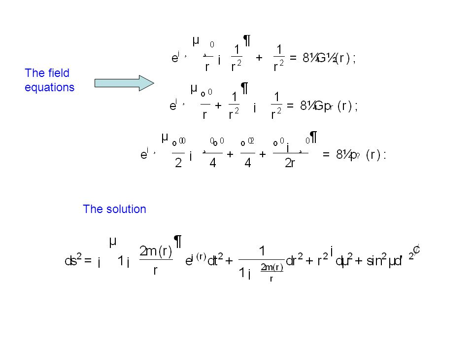 The field equations The solution