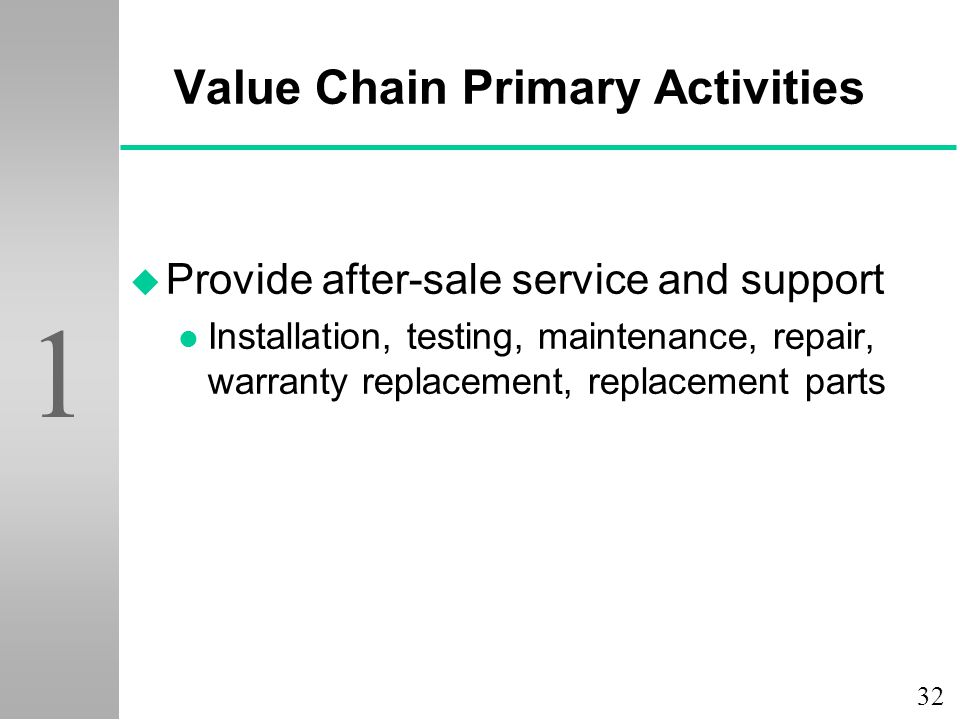 32 1 Value Chain Primary Activities u Provide after-sale service and support l Installation, testing, maintenance, repair, warranty replacement, repla