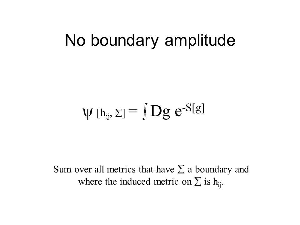 No boundary amplitude   [h ij,  ]  = Dg e -S[g] Sum over all metrics that have  a boundary and where the induced metric on  is h ij.