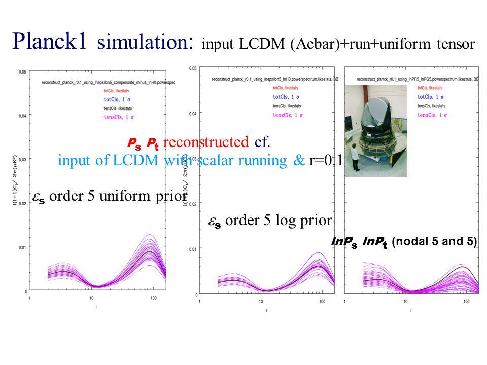 Planck1 simulation : input LCDM (Acbar)+run+uniform tensor P s P t reconstructed cf.