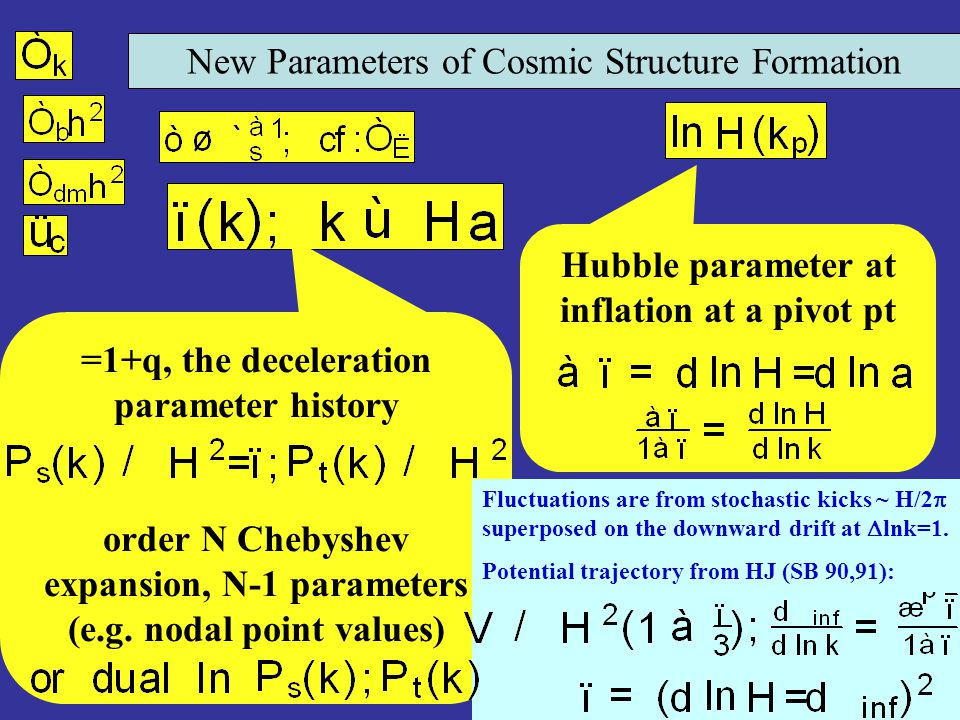 New Parameters of Cosmic Structure Formation =1+q, the deceleration parameter history order N Chebyshev expansion, N-1 parameters (e.g. nodal point va