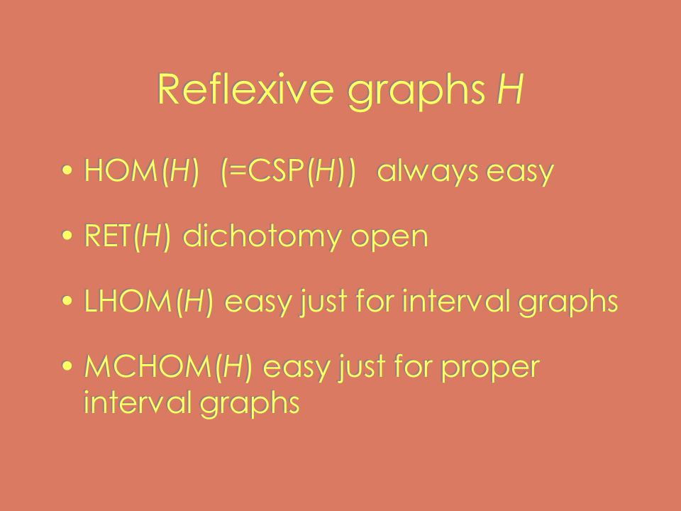 Reflexive graphs H HOM(H) (=CSP(H)) always easy RET(H) dichotomy open LHOM(H) easy just for interval graphs MCHOM(H) easy just for proper interval graphs HOM(H) (=CSP(H)) always easy RET(H) dichotomy open LHOM(H) easy just for interval graphs MCHOM(H) easy just for proper interval graphs
