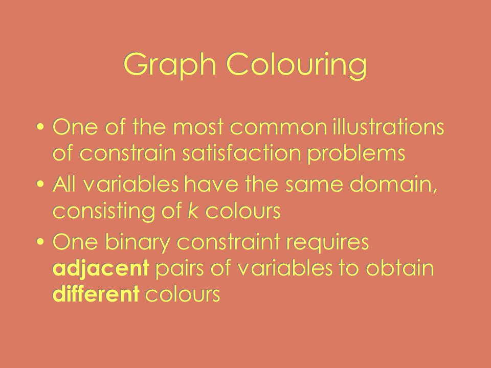 Graph Colouring One of the most common illustrations of constrain satisfaction problems All variables have the same domain, consisting of k colours One binary constraint requires adjacent pairs of variables to obtain different colours One of the most common illustrations of constrain satisfaction problems All variables have the same domain, consisting of k colours One binary constraint requires adjacent pairs of variables to obtain different colours