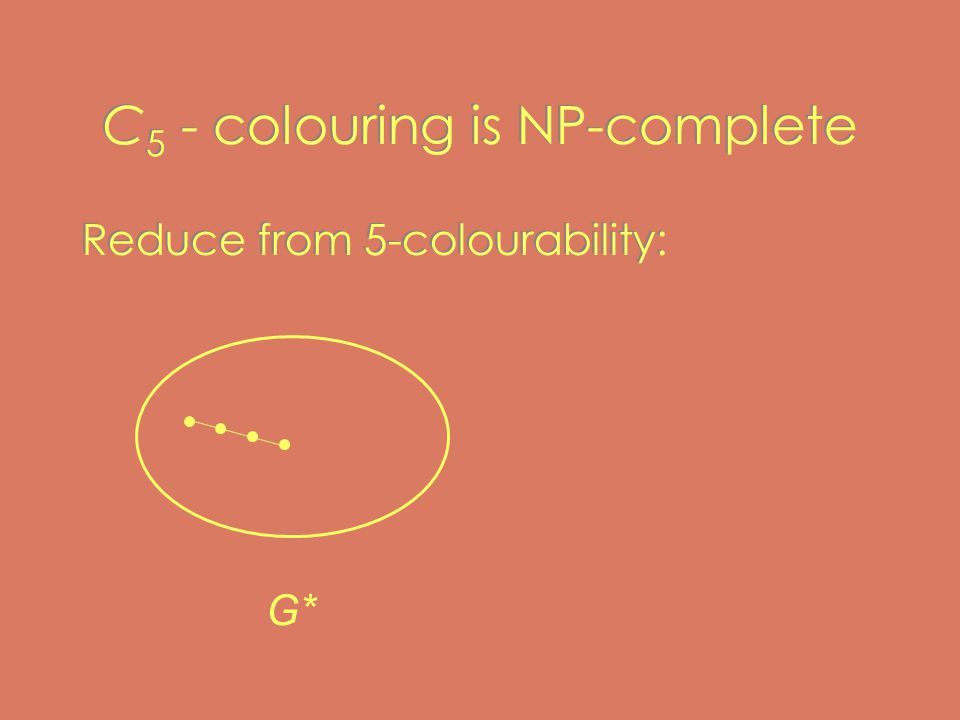 C 5 - colouring is NP-complete Reduce from 5-colourability: G*