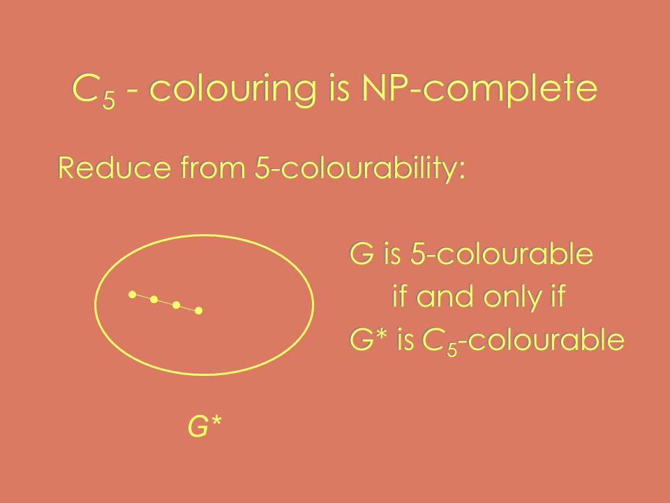 C 5 - colouring is NP-complete Reduce from 5-colourability: G is 5-colourable if and only if G* is C 5 -colourable Reduce from 5-colourability: G is 5-colourable if and only if G* is C 5 -colourable G*