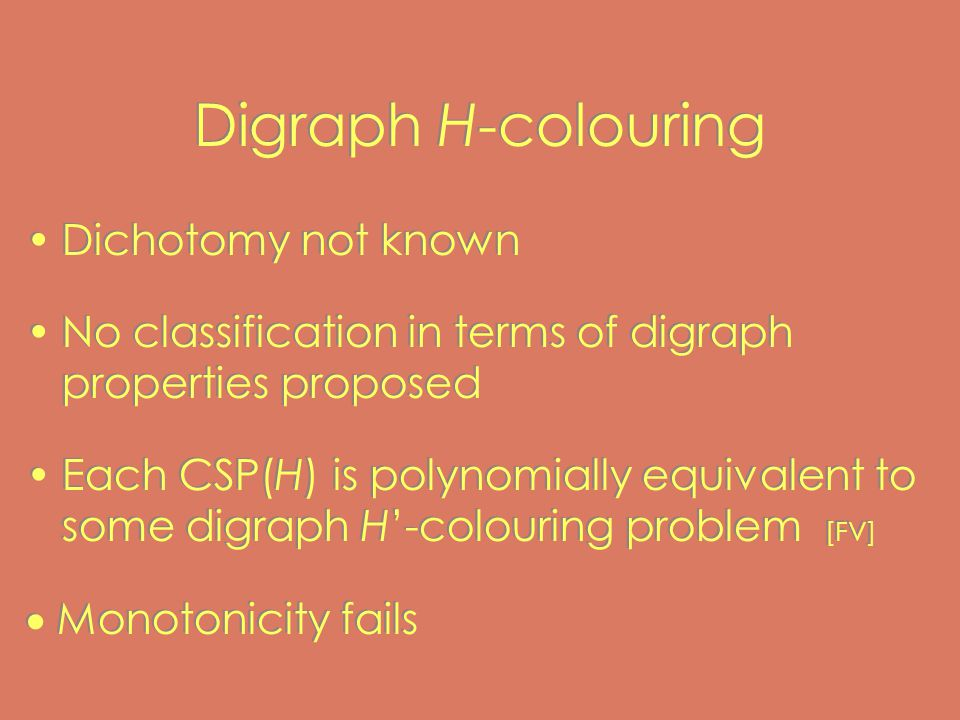 Digraph H-colouring Dichotomy not known No classification in terms of digraph properties proposed Each CSP(H) is polynomially equivalent to some digraph H'-colouring problem [FV]  Monotonicity fails Dichotomy not known No classification in terms of digraph properties proposed Each CSP(H) is polynomially equivalent to some digraph H'-colouring problem [FV]  Monotonicity fails