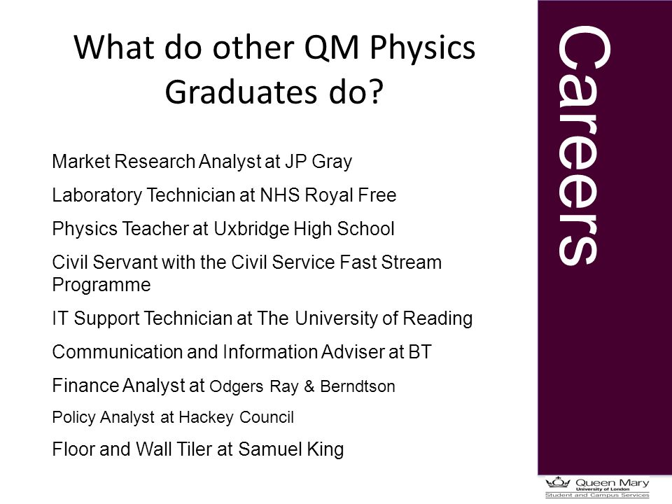 Careers What do other QM Physics Graduates do.