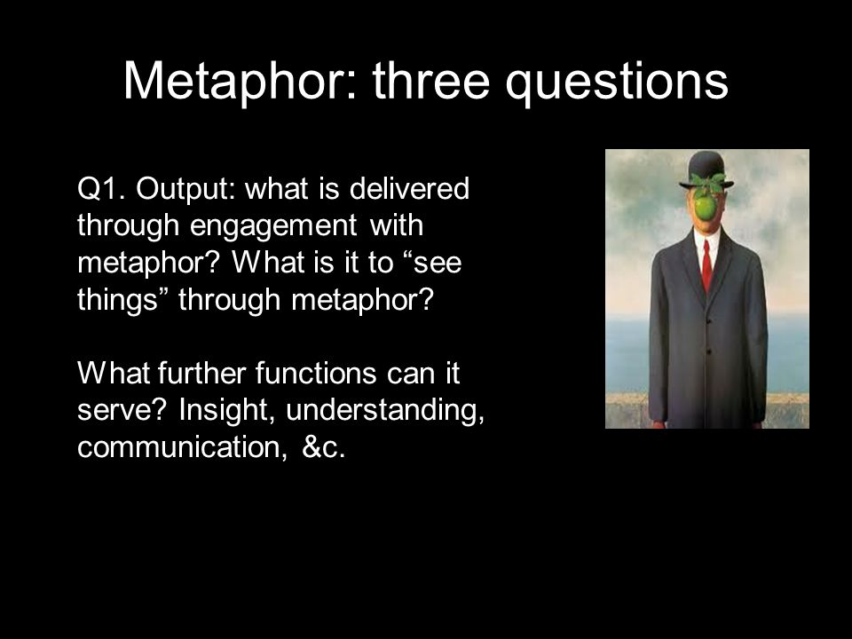 Metaphor: three questions Q1. Output: what is delivered through engagement with metaphor.
