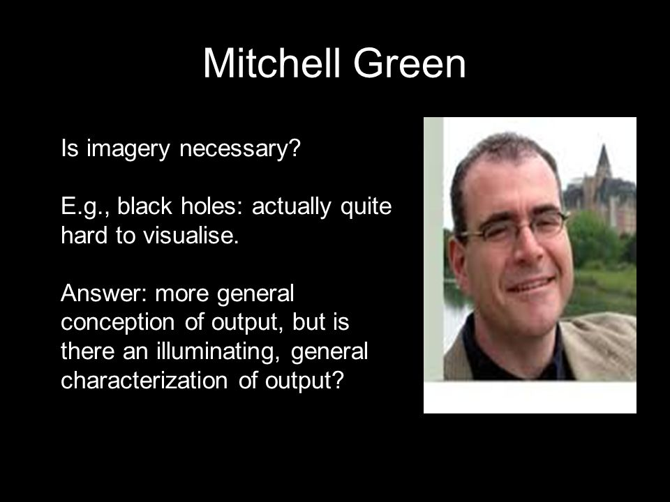 Mitchell Green Is imagery necessary. E.g., black holes: actually quite hard to visualise.