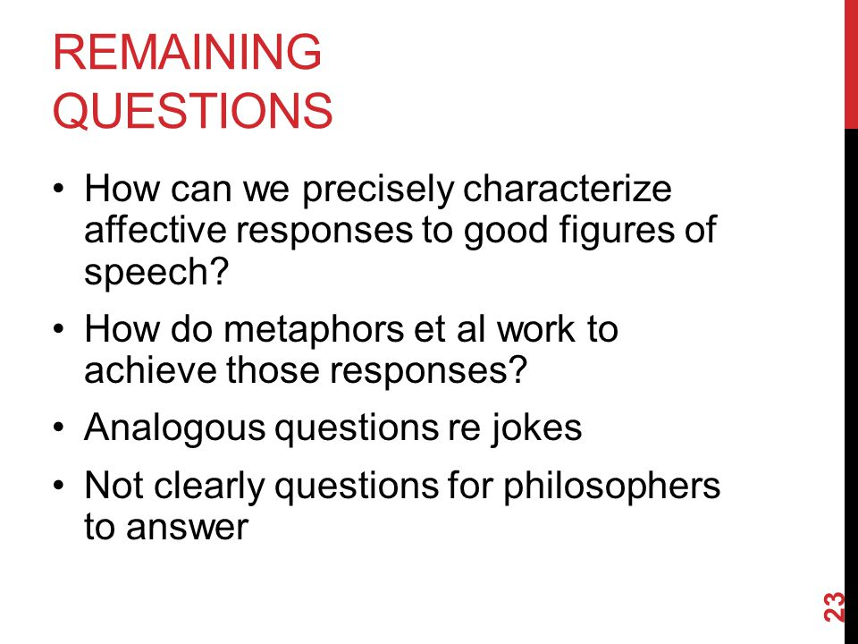 REMAINING QUESTIONS How can we precisely characterize affective responses to good figures of speech.