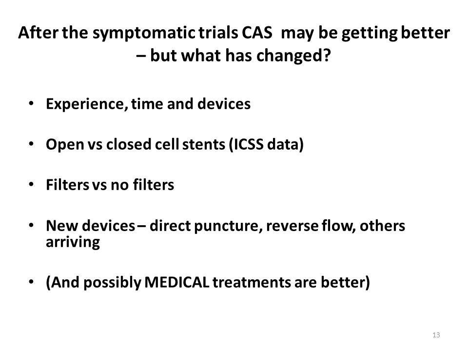 After the symptomatic trials CAS may be getting better – but what has changed.