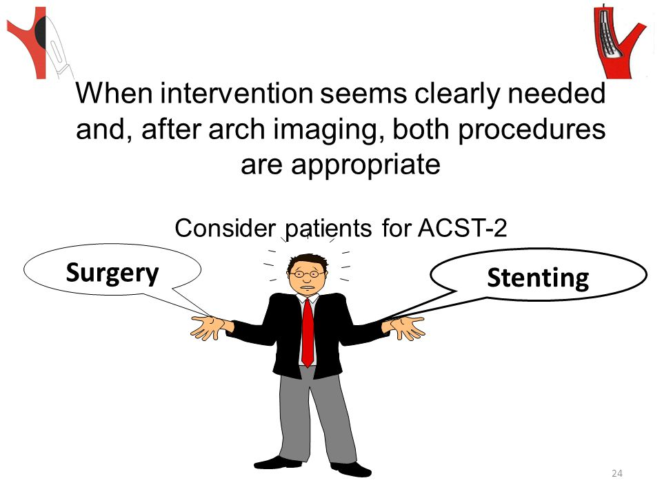 Stenting Surgery When intervention seems clearly needed and, after arch imaging, both procedures are appropriate Consider patients for ACST-2 24