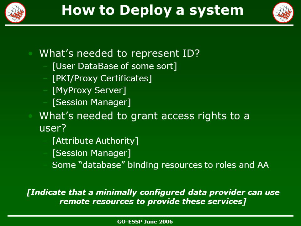 GO-ESSP June 2006 How to Deploy a system What's needed to represent ID.