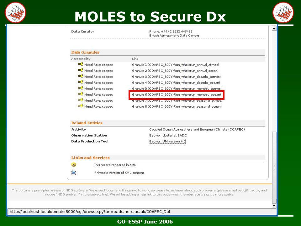 GO-ESSP June 2006 MOLES to Secure Dx