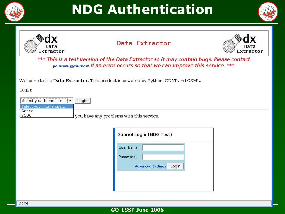 GO-ESSP June 2006 NDG Authentication Offering up trusted host list …