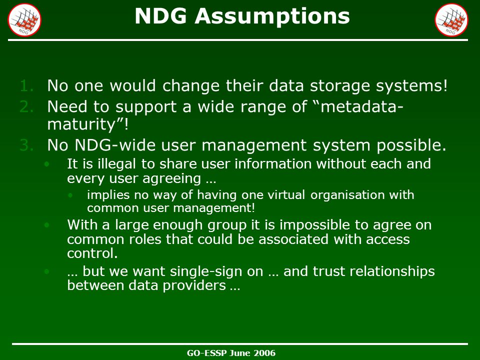 """GO-ESSP June 2006 NDG Assumptions 1.No one would change their data storage systems! 2.Need to support a wide range of """"metadata- maturity""""! 3.No NDG-w"""