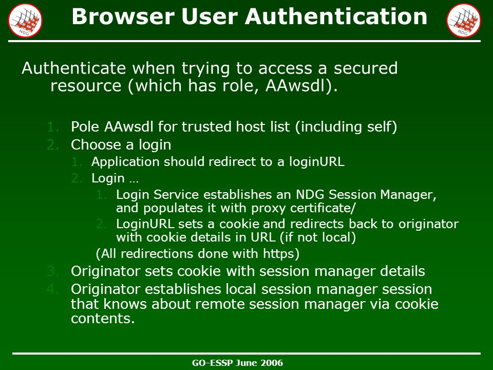 GO-ESSP June 2006 Browser User Authentication Authenticate when trying to access a secured resource (which has role, AAwsdl). 1.Pole AAwsdl for truste