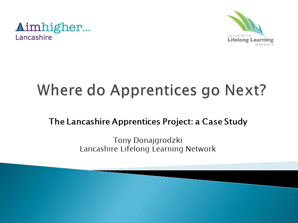 The Lancashire Apprentices Project: a Case Study Tony Donajgrodzki Lancashire Lifelong Learning Network