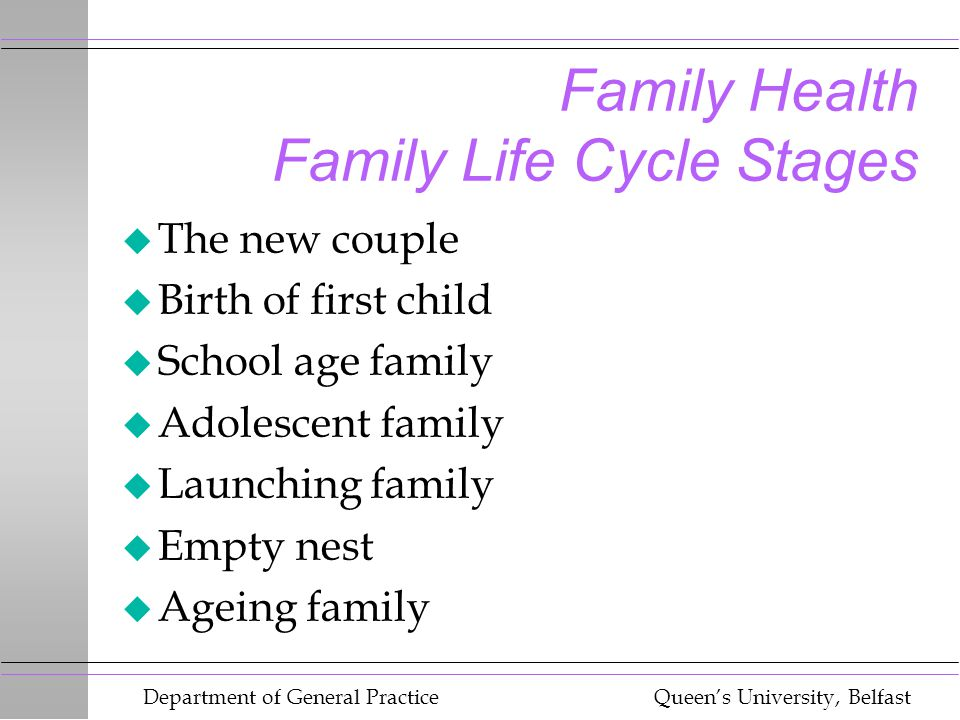 Department of General Practice Queen's University, Belfast Family Health Family Life Cycle Stages u The new couple u Birth of first child u School age family u Adolescent family u Launching family u Empty nest u Ageing family