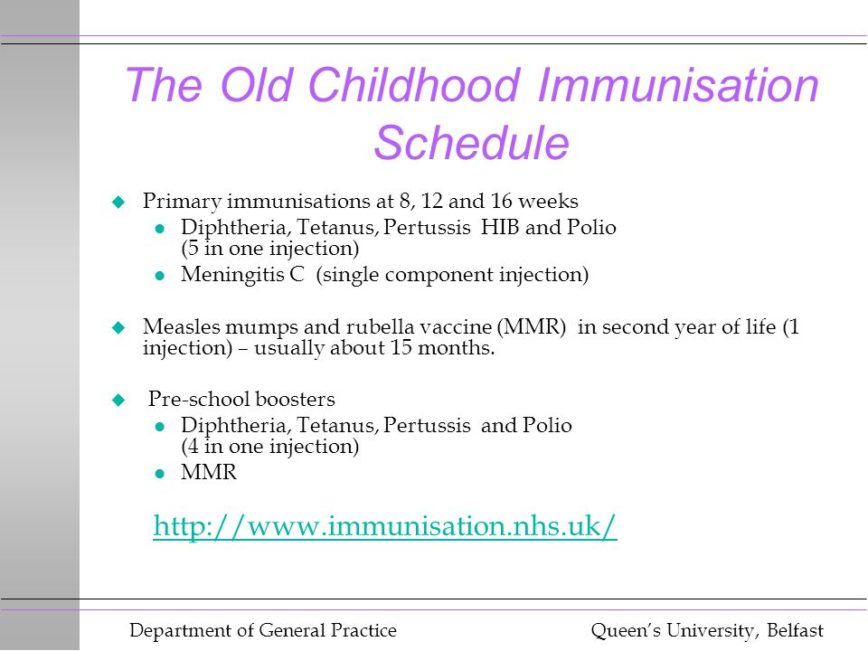 Department of General Practice Queen's University, Belfast Changes to the Schedule u Addition of a pneumococcal conjugate vaccine (PCV) at 2,4 and 15 mths of age u One dose of Men C vaccine at 3 & 4 Mths u Booster dose of combined Hib & MenC 1t 12 Mths of age